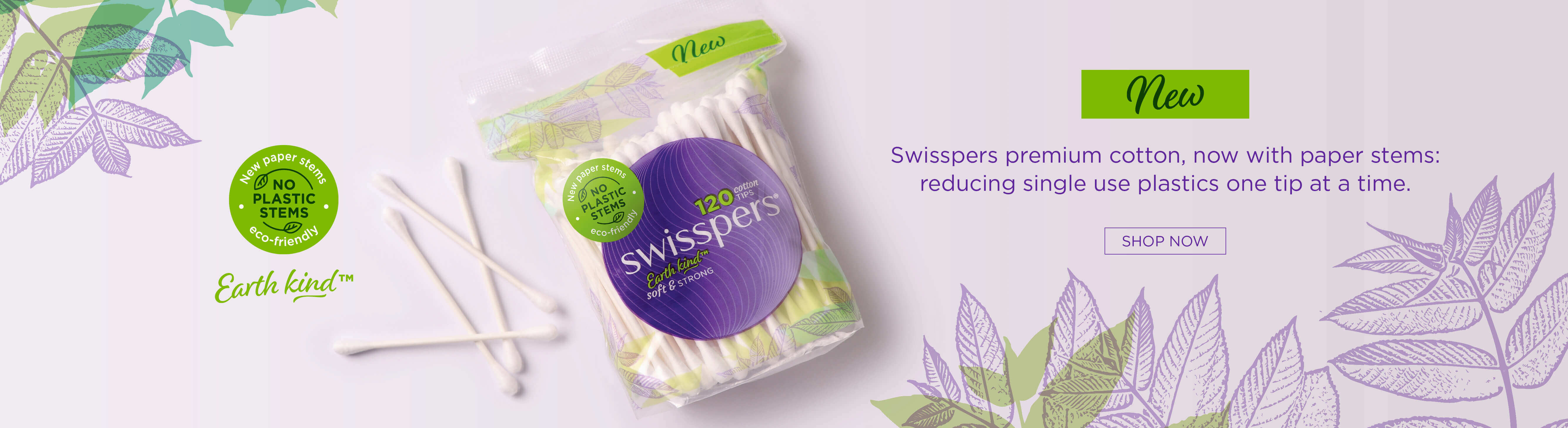 Swisspers premium cotton tips, now with paper stems.